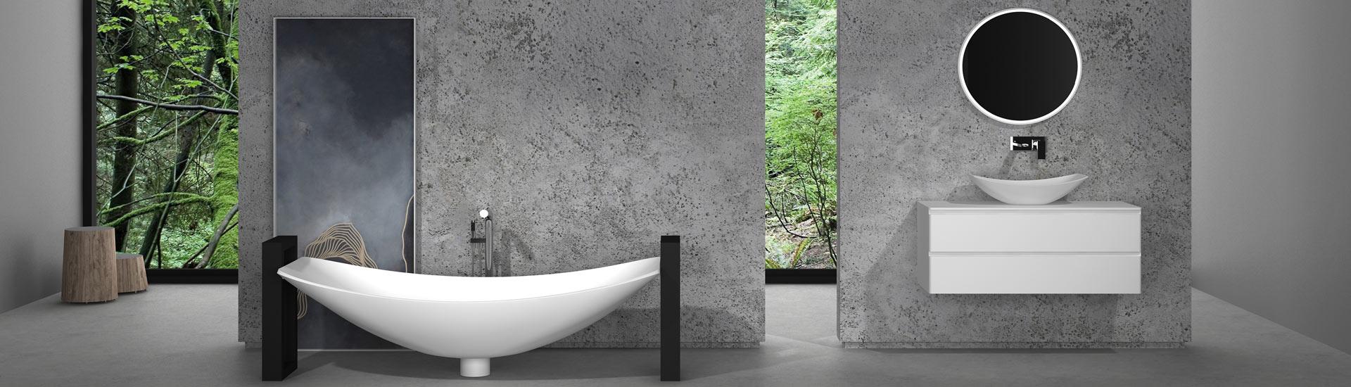 Bathroom with steel framed tub and basin in hammock style