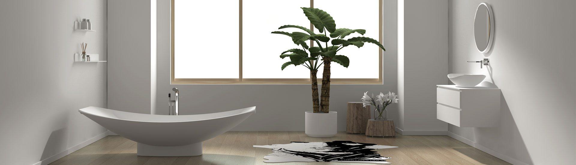 A freestanding hammock bathtub called a Mirage